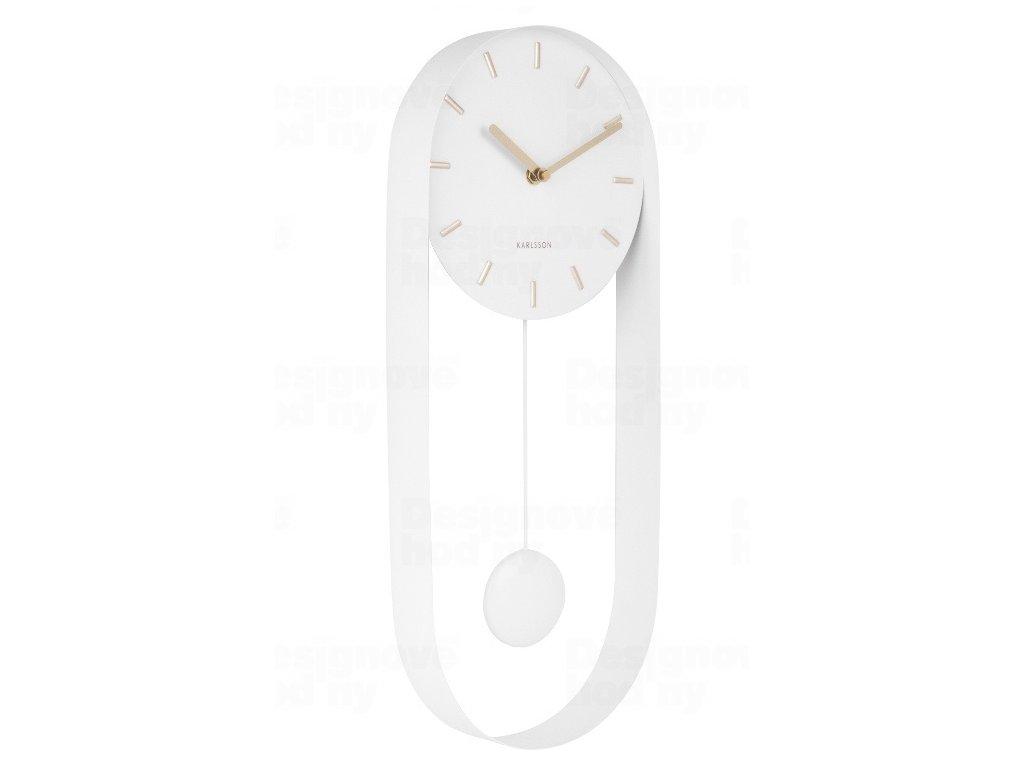 Designové kyvadlové nástěnné hodiny 5822WH Karlsson 50cm