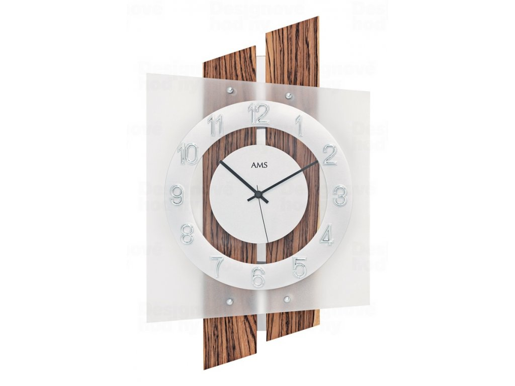Designové nástěnné hodiny 5531 AMS řízené rádiovým signálem 46cm