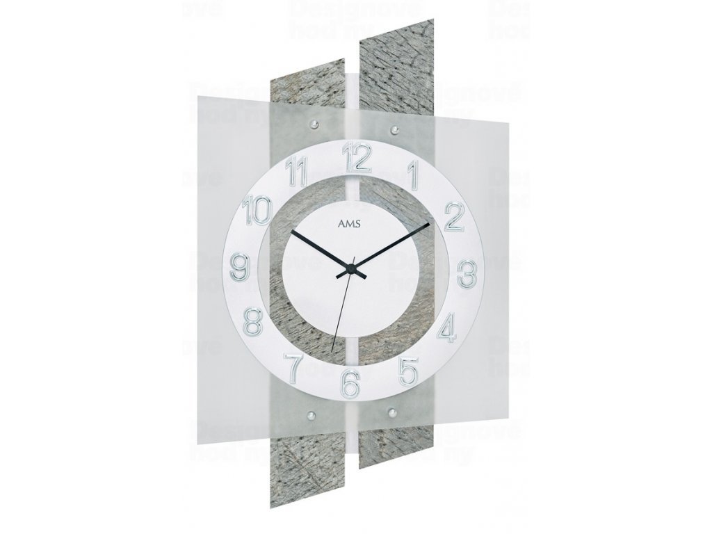 Designové nástěnné hodiny 5536 AMS řízené rádiovým signálem 46cm