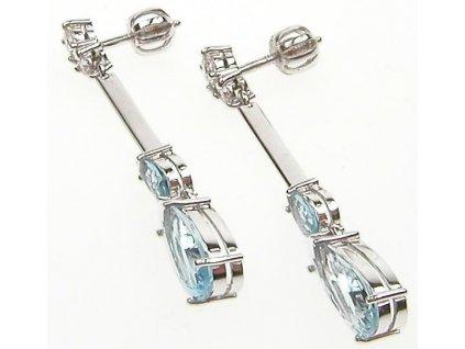Náušnice bílé zlato s diamanty a akvamarinem 1/32743