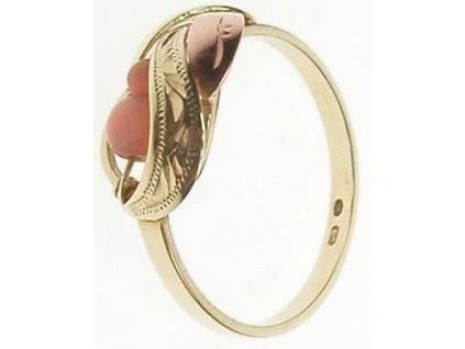 Prsten ze žlutého a červeného zlata s korálem 1/17250