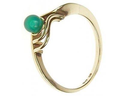 Prsten zlatý s chryzoprasem 1/13127