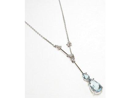 Náhrdelník z bílého zlata s diamanty a akvamaríny 1/32742