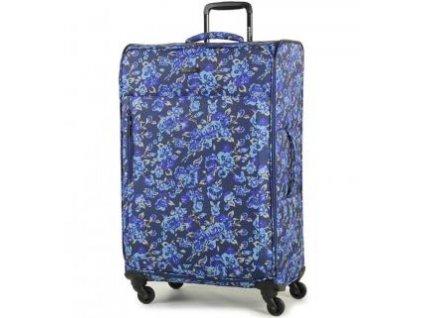 Cestovní kufr MEMBER'S TR-0131/3-L - modrá/Flowers