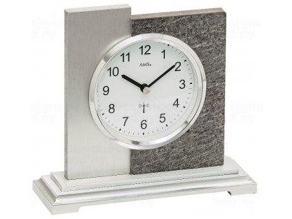 Luxusní stolní hodiny 5150 AMS s dekoraci kamene, řízené rádiovým signálem 17cm