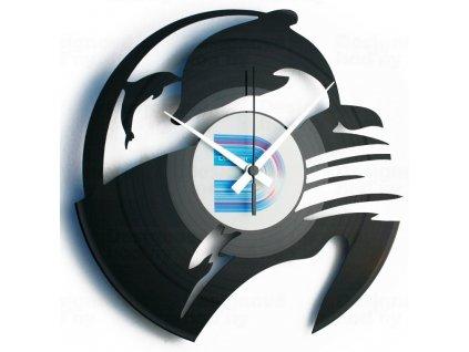 Designové nástěnné hodiny Discoclock 093 Delfíni 30cm