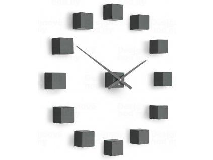 Designové nástěnné nalepovací hodiny Future Time FT3000TT Cubic titanium grey