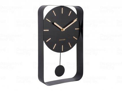 Designové kyvadlové nástěnné hodiny 5796BK Karlsson 33cm