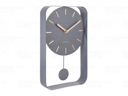 Designové kyvadlové nástěnné hodiny 5796GY Karlsson 33cm