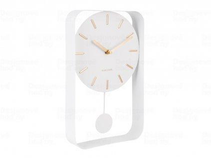 Designové kyvadlové nástěnné hodiny 5796WH Karlsson 33cm