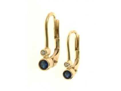 Náušnice zlaté s modrým a bílým kamínkem 13/64155
