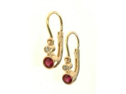 Náušnice dětské zlaté s červeným a bílým kamínkem 43/111281