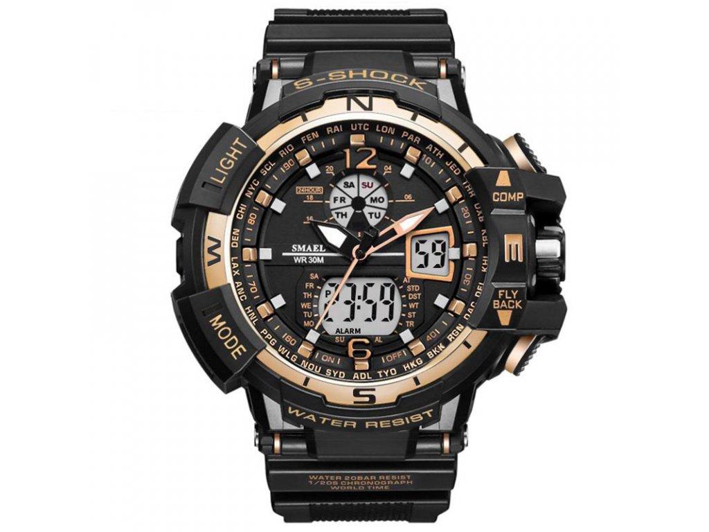 Marca SMAEL Hombres Deportes Relojes Dual Display Anal gico Digital Reloj  LED Electr nico Relojes de 889ab7eb704