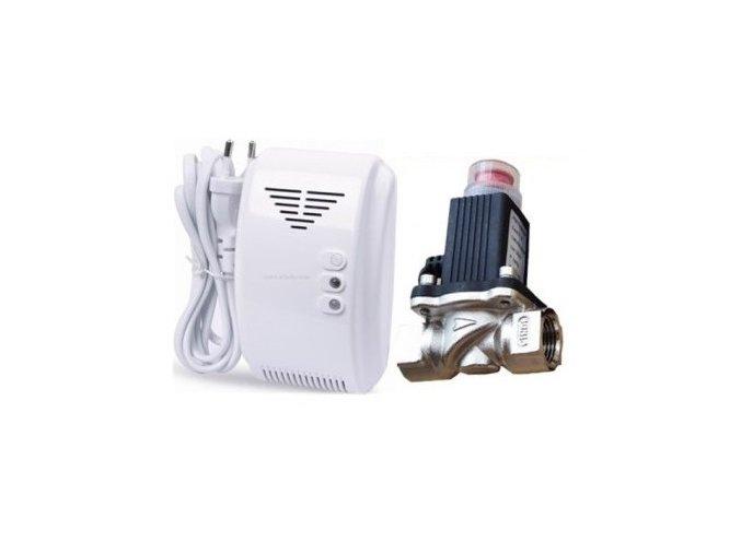 666 2 detektor uniku plynu 12v se sirenkou a elektricky uzaviraci ventil