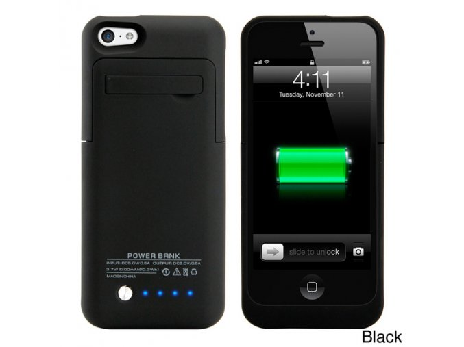Black Gearonic 2200mAH External Battery Case with Kickstand for iPhone 5C 749b6dee 9b0a 42ec ac5d ecd88753754a 600