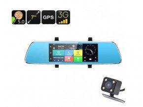5418 dualni kamera do auta v zrcatku s velkym 7 palcovym dotykovym displejem wifi gps lurecom car cam v200