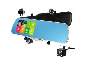 5466 dualni kamera v zrcatku s android os wifi pripojenim a gps modulem s antenou lurecom car cam ar05