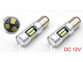 4518 sada dvou led zarovek 7w do auta s patici bay15d smd cip 3030 800lm led bay15d 2x 1012