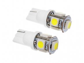 5098 set dvou led zarovek 1w do auta s patici t10 smd cip 5050 100lm svit bila led 2x t10 5050 1028