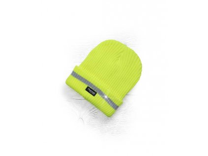 Zimní čepice pletená + fleece hi-viz SPARK žlutá