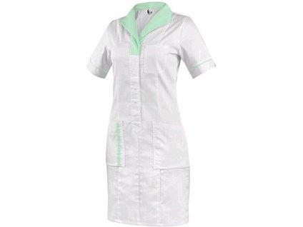 Canis Dámské šaty CXS BELLA bílé se zelenými doplňky