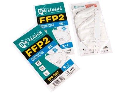 Respirátory FFP2 BM-002, 2 ks v balení, bez ventilku