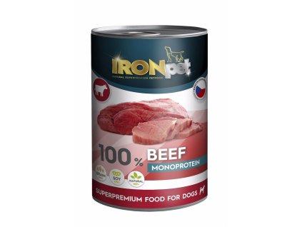 IRONpet Dog Beef (Hovězí) 100 % Monoprotein, konzerva 400 g