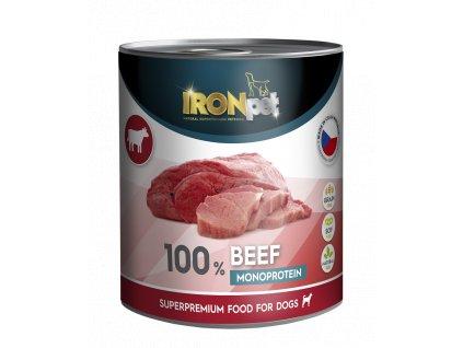 IRONpet Dog Beef (Hovězí) 100% Monoprotein, konzerva 800 g