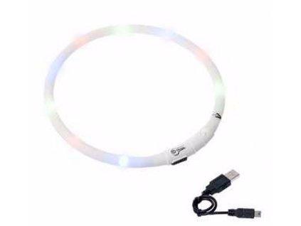 Karlie LED světelný obojek bílý obvod 20-75cm