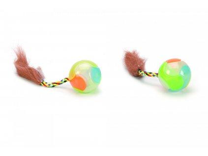 Beeztees Hračka pro kočky barevný míček s ocáskem 4,5cm