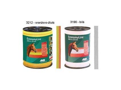 5548 polyetylenova paska pro elektricke ohradniky economyline basic 20 mm zluto oranzova 200 m