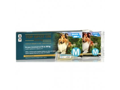 21284 bioveta top spot on dog m 1x2ml 15 30kg