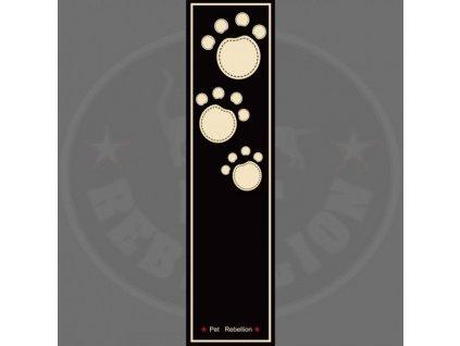 PET REBELLION Běhoun, černý s tlapkami 45x150cm