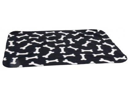 Karlie Fleecová deka černá kost 100x70cm
