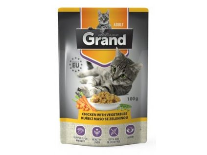 GRAND kaps. deluxe kočka kuřecí se zel.100g