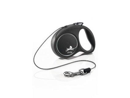 Vodítko FLEXI Black Design XS lanko 3m/8kg stříbrnáNEW
