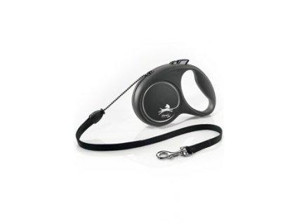 Vodítko FLEXI Black Design M lanko 5m/20kg stříbrnáNEW