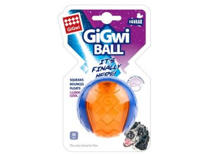 Hračka pes GiGwi Ball míček M transparentní modro/oran