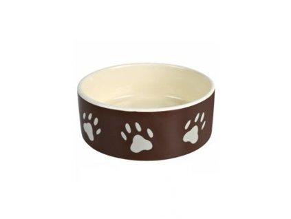 Miska keramická pes Hnědá/tm.šedá s tlapka 0,3l 12cm