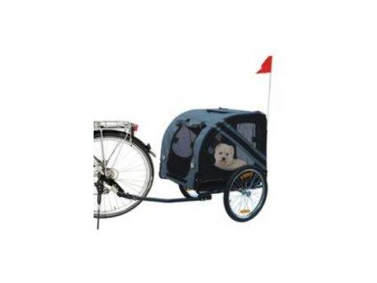 Vozík přívěsný za kolo pro psa 125x95x72cm šedá/černá