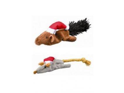 Vánoční Hračka kočka Myš/Veverka 14-17cm plyš TR