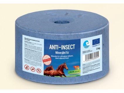 Anti Insect, minerální liz spřírodními látkami, které odpuzují hmyz, Balení 3 kg