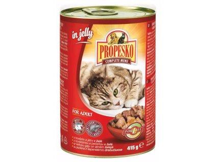 PROPESKO Cat hovězí a játra v želé, kousky  415 g