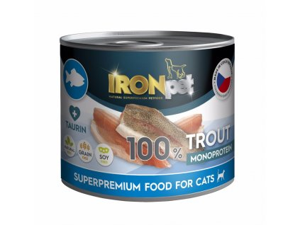 IRONpet Cat Trout (Pstruh) 100% Monoprotein, konzerva 200 g