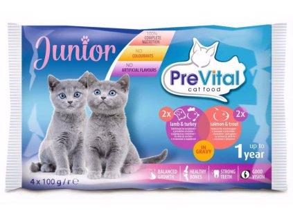 Prevital kočka junior jehně, krůta, losos a pstruh, kapsa 100g  (pack 4 ks)