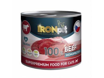 IRONpet Cat Beef (Hovězí) 100% Monoprotein, konzerva 200 g