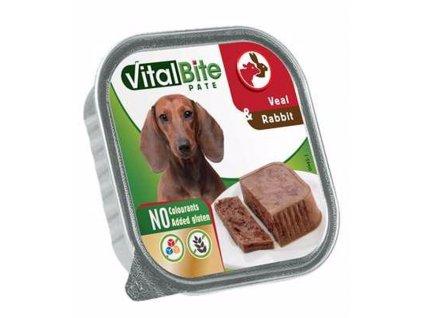 VitalBite masové kousky s telecím a králičím, vanička 150 g