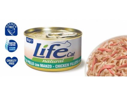 LifeCat Chicken with Beef, konzerva 85 g