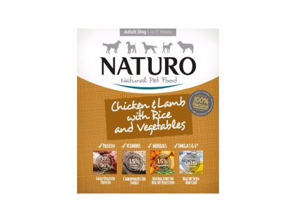 Naturo Dog Adult Chicken & Lamb with Rice and Vegetables, vanička 400 g