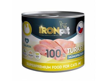IRONpet Cat Turkey (Krůtí) 100% Monoprotein, konzerva 200 g